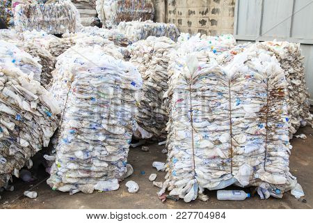 Grodno, Belarus - October 16, 2017: Plastic At The Modern Waste Hazardous Processing Plant. Recyclin
