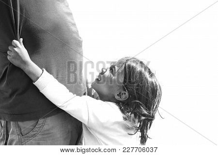 Black-and-white Photo Of The Child, Asking For Help From An Adul