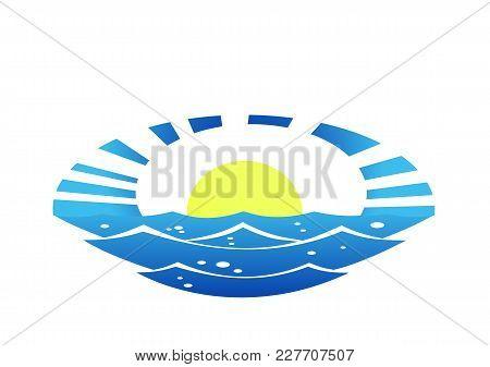 Logo Sun Waves East Yellow Sea Abyss Blue Waves Circle Sunrise