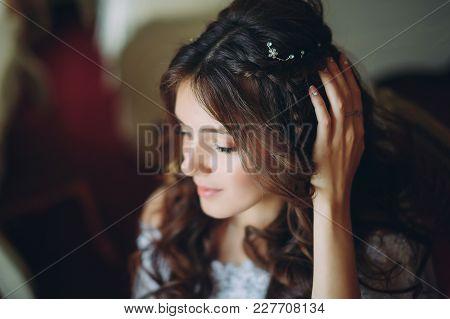 Beautiful Bride Posing In Hotel. Wedding In The Style Of Fine Art