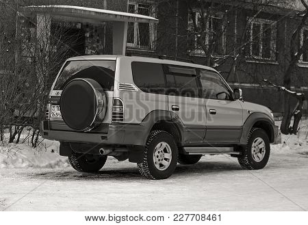 Kazakhstan, Ust-Kamenogorsk - 17 February, 2018. Toyota Land Cruiser Prado 90 in the parking lot.  Toyota Land Cruiser Prado 90. Japanese car. Suv.