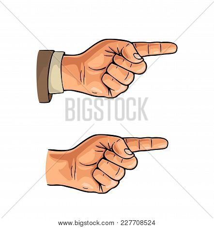 Pointing Finger. Male Hand In Sleeve Suit And Without. Vector Color Flat Illustration Isolated On A