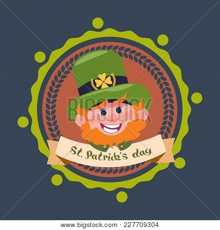 Happy St. Patricks Day Decoration Label With Cute Leprechaun In Green Hat Flat Vector Illustration