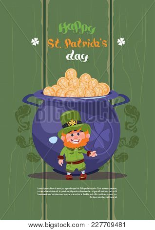 Leprechaun Man Over Big Pot With Golden Coins Happy St. Patricks Day Holiday Poster Or Greeting Card