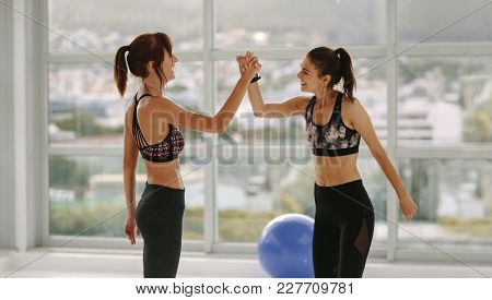 Young Women Having Group Aerobic Training In Sport Club. African Female With Friends Doing Intensive
