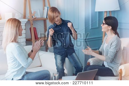 You Are In A Total Norm Now. Male Youngster Cannot Keep His Emotions Inside While Hearing His Mother
