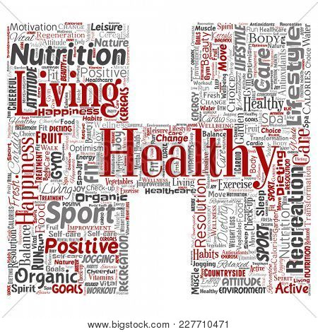 Conceptual healthy living positive nutrition sport letter font H word cloud isolated background. Collage of happiness care, organic, recreation workout, beauty, vital healthcare spa concept