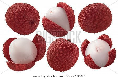 Fresh Lychee Set Isolated On White Background As Package Design Elements