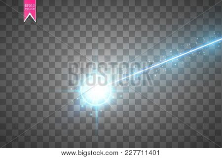 Abstract Blue Laser Beam. Laser Security Beam Isolated On Transparent Background. Light Ray With Glo