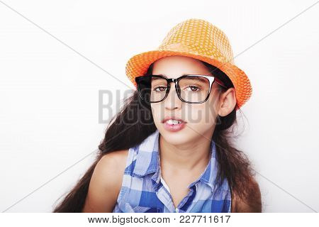 Image Of A Beautiful African Young Girl Wearing Glasses And Hat