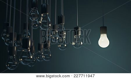 glowing bulb among the grey, 3d illustration