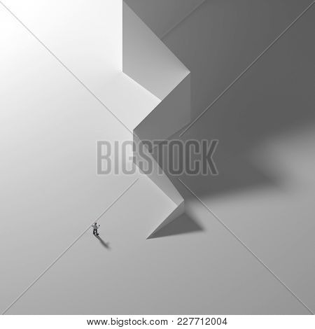 businessman at the wall, top view, 3d illustration