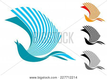 Singing Bird In Flight (logo, Sign, Emblem, Symbol). Isolated Image In Two-color And Two Monochrome