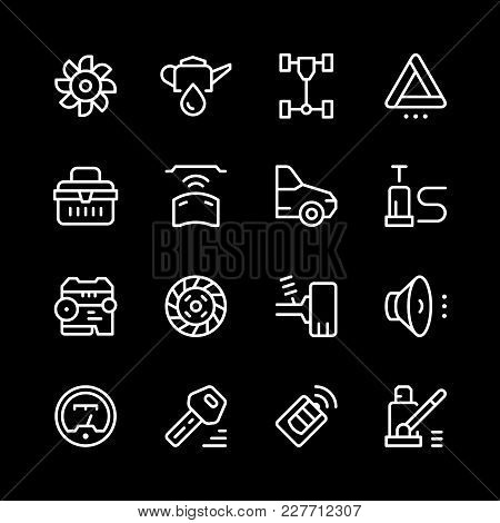 Set Of Car Related Line Icons Isolated On Black. Vector Illustration