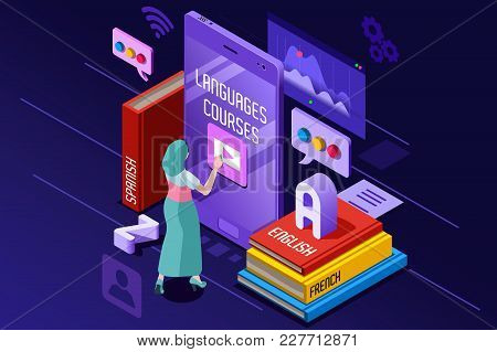 Learning From Textbook This Is A Foreign Concept Vector Illustration. E-learning And Teaching Theme.
