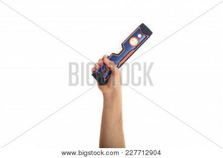 Hand Holding A Spirit Level On White Background