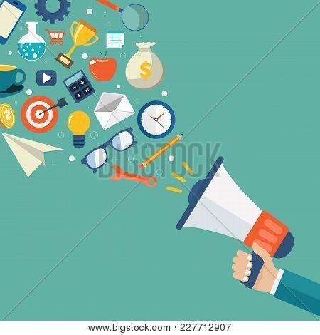 Digital Marketing And Advertising Concept. Flat Vector Illustration.