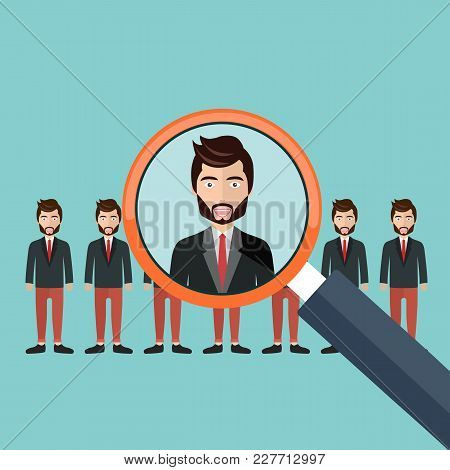 Choosing The Best Candidate For The Job Concept. Magnifying Glass Picking Up A Businessman Figure Fr