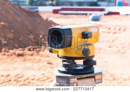 Camera In The Survey Construction Equipment Background Texture.