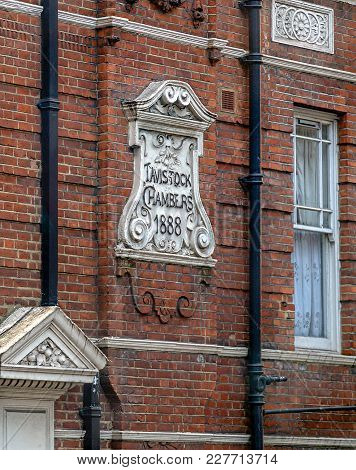 London, England - November 28, 2017: Facade And Inscription Of Historical Building In London On Vict