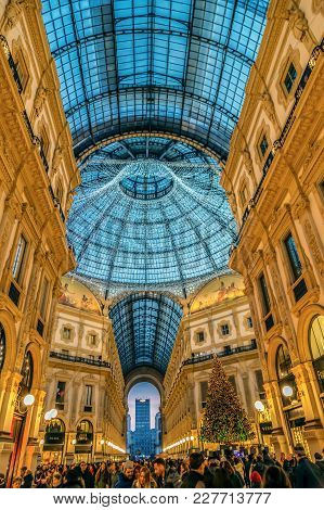 Milan, Italy - December 12, 2016: Interior At Vittorio Emanuele Ii Gallery On Christmas Time With Pe