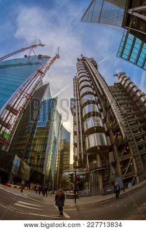 Wide Angle Shot Of Skyscrapers In Central London