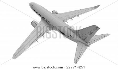 Commercial Jet Plane Isolated On White. 3d Render. Top Rear View