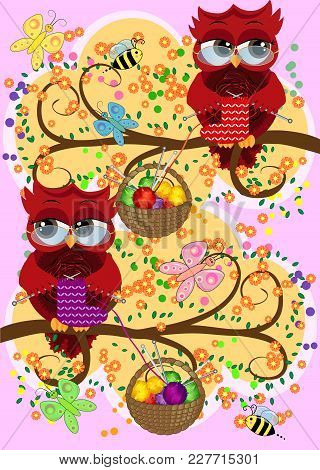 A Red Flirtatious Owl In Glasses Sits On A Branch And Knits A Red And White Sock, Basket With Colorf