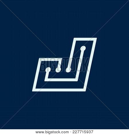 Letter J. Font Maze Italic, Vector Geometric Alphabet On Dark Background.