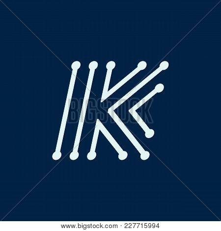 Letter K. Font Maze Italic, Vector Geometric Alphabet On Dark Background.