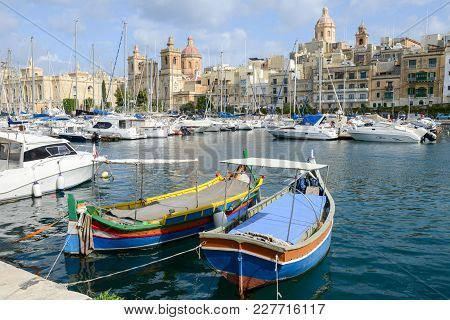Vittoriosa One Of The Three Cities Across Valletta Bay, Malta
