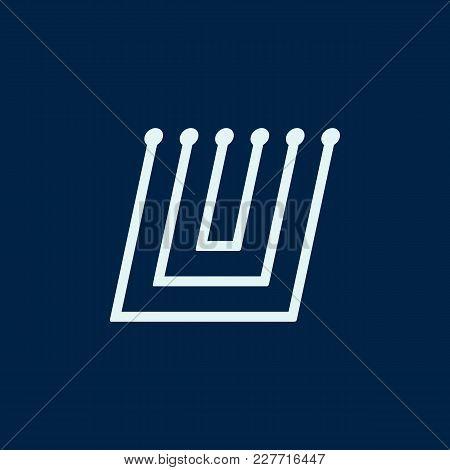 Letter U. Font Maze Italic, Vector Geometric Alphabet On Dark Background.