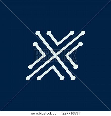 Letter X. Font Maze Italic, Vector Geometric Alphabet On Dark Background.