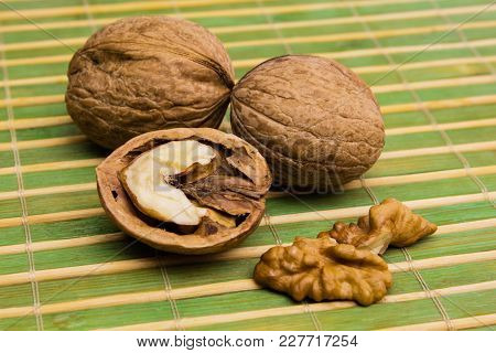 Group Of Walnuts. Healthy Food Concept. Walnuts Close Up