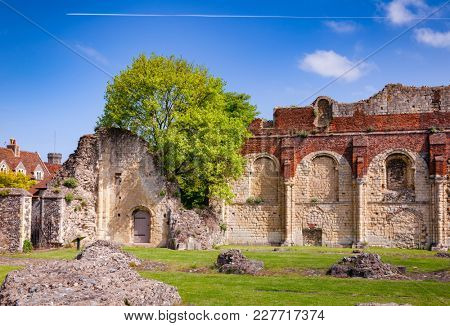 Ruined St Augustine's Abbey, the oldest Benedictine monastery in Canterbury, Kent Southern England, UK. UNESCO World Heritage Site