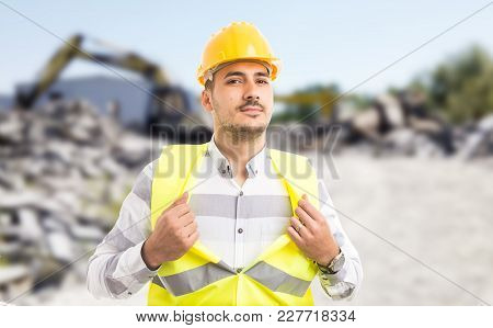 Professional Worker Acting Like A Superhero Showing Chest.