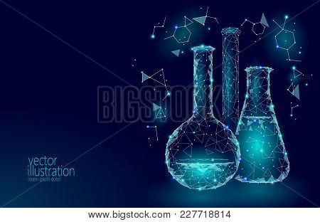 Low Poly Science Chemical Glass Flasks. Magical Equipment Polygonal Triangle Blue Glowing Research F