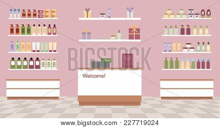 Health And Beauty Store With Colorful Cosmetic Products In Plastic Bottles In Shelves. Flat Style Ve