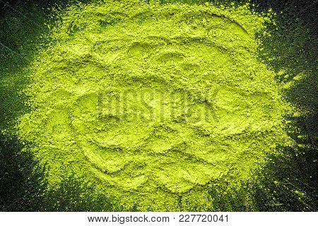 Mockup With Matcha Powder Tea On Black Background Top View.