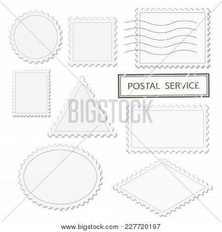 Blank Postage Stamps Different Shapes Set - Triangle, Square, Round, Oval, Rhombus. Isolated On Whit