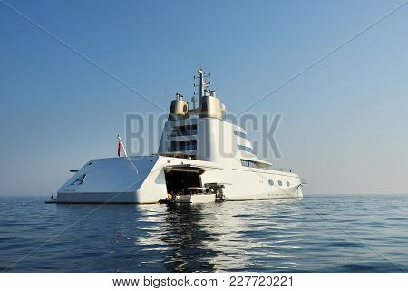 Budva, Montenegro - Aug 02 2009: Luxury Yacht A Owned By Russian Billionaire A.melnichenko Is Shown
