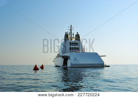 Budva, Montenegro - Aug 02 2009: Luxury Yacht A Owned By Russian Billionaire A.melnichenko Is Shown