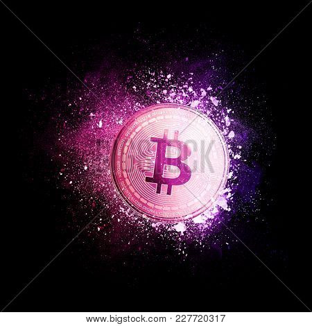 Bitcoin coin symbol flying in violet particles isolated on black background. Global cryptocurrency and ICO initial coin offering business banner concept.