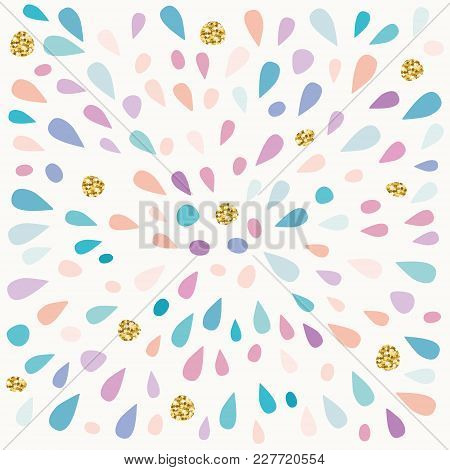 Festive Pattern With Paint Splashes And Glitter Spots. Vector