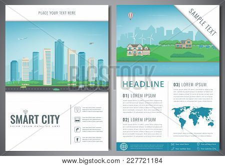 City Brochure With Urban Landscape And Suburb. Template Of Magazine, Poster, Book Cover, Banner, Fly