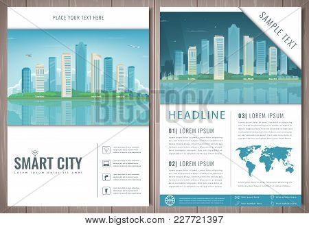 City Brochure With Day And Night Urban Landscape. Template Of Magazine, Poster, Book Cover, Banner,
