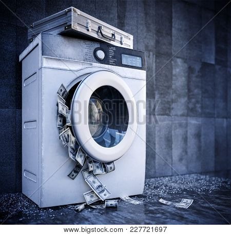 Laundering Of Money Business Background Concept Closeup