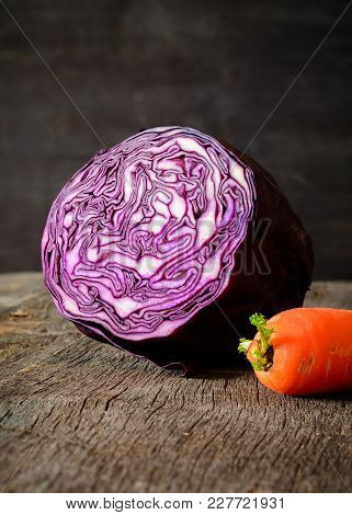 Cut Cabbage For Salad. Healthy Eating. Cooking Food