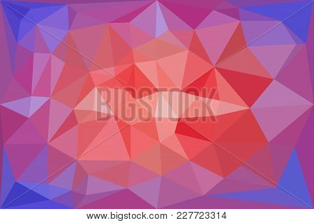 Red, Light Red And Blue Triangular Pattern - Triangles Mosaic - Vector Illustration