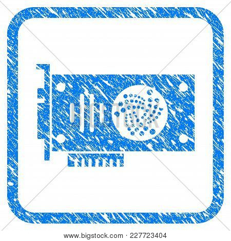 Iota Gpu Card Rubber Seal Stamp Imitation. Icon Vector Symbol With Grunge Design And Dirty Texture I
